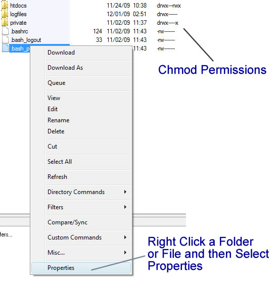 To select Chmod right click a folder or file